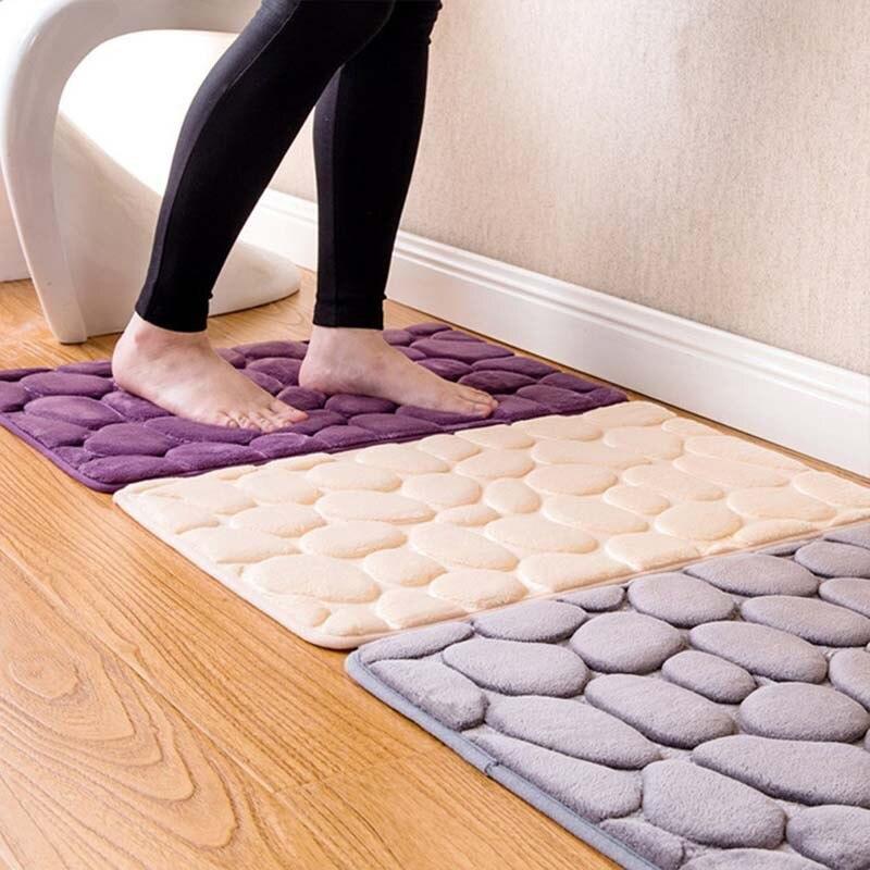 1pc Coral Fleece Bathroom Memory Foam Rug Kit Toilet Bath Non-slip Mats Floor Carpet Set Mattress for Decor 40x60cm