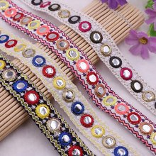 1Yards  Mirror Ethnic Beaded Lace Trim Vintage Embroidered Lace Ribbon Lace Fabric Handmade Costume Sewing Clothing Accessories