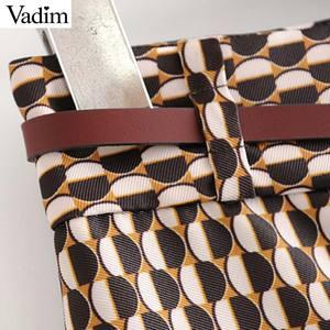 Image 3 - Vadim mujer elegante impresión midi falda cinturón diseño cremallera trasera Oficina Ropa Femenina casual moda básica media pantorrilla falda BA840