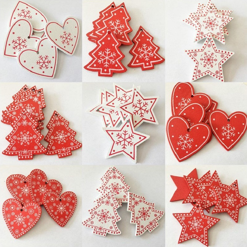 10pcs 5cm White Red Wood Christmas Ornaments Star Heart Christmas Tree Hanging Pendants for New Year Xmas Home Party Decoration