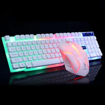 2020 Combo PC Gamer LED Gaming Keyboard And Mouse Set Wired Keyboard Gamer Keyboard Illuminated Gaming Keyboard Set For Laptop 3