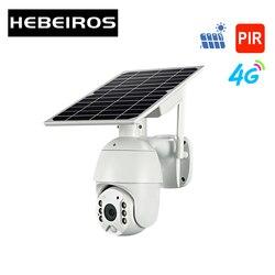 Hebeiros 4g cartão sim wifi bateria solar ptz câmera 1080p ao ar livre à prova dwaterproof água pir alarme detecção de movimento p2p cctv câmera