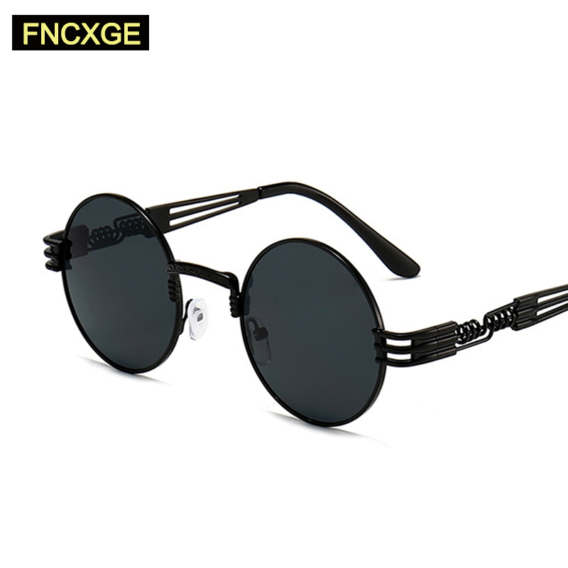 2020 New Men Gothic Steampunk Sunglasses Driving Women Round Shades Sun Glasses Men's UV400 Goggle Vintage Retro For Male 8010