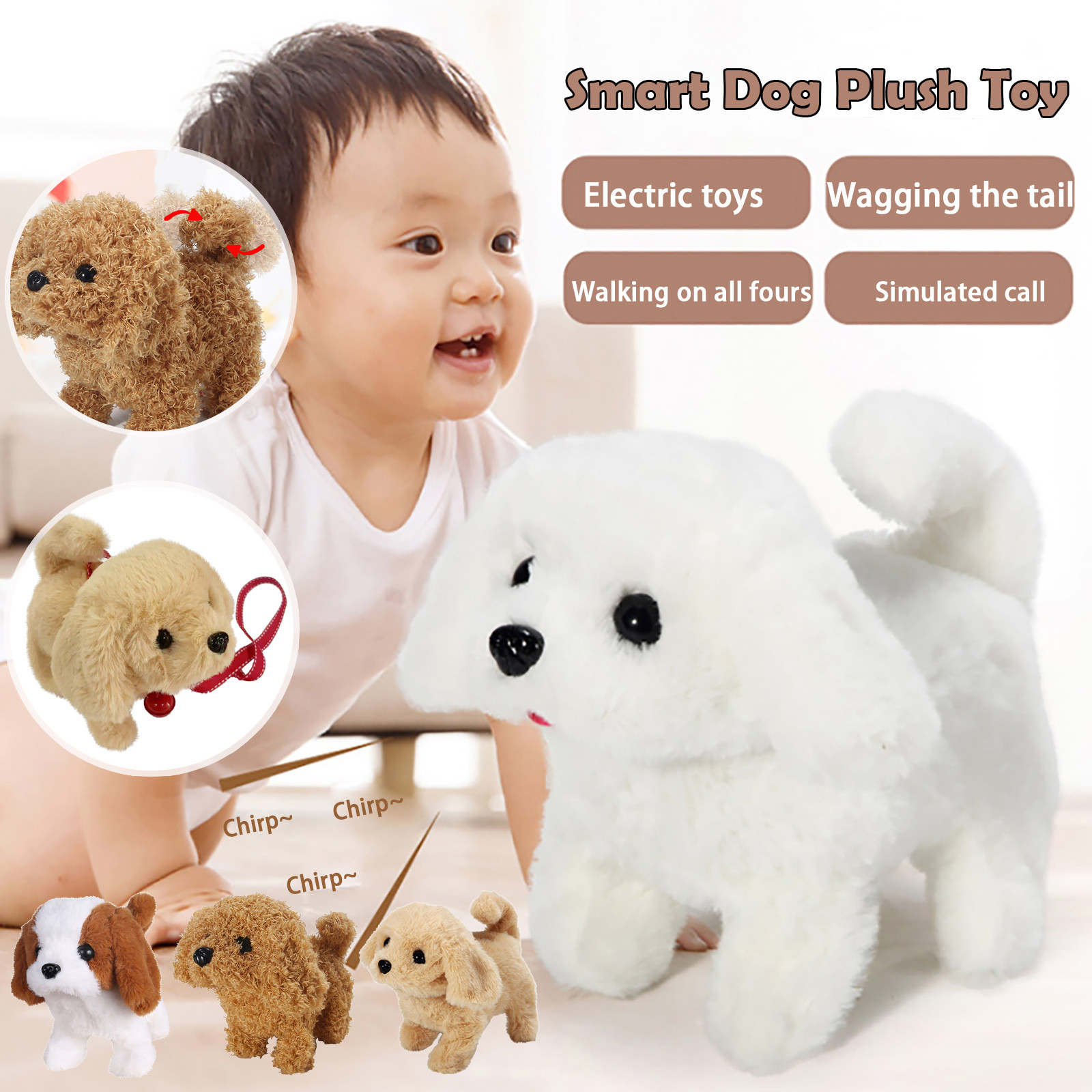 Electric Plush Pets Doll Toy Cute Simulation Puppy Plush Toys Will Be Called Walking Smart Robot Dog interactive toys For Kids