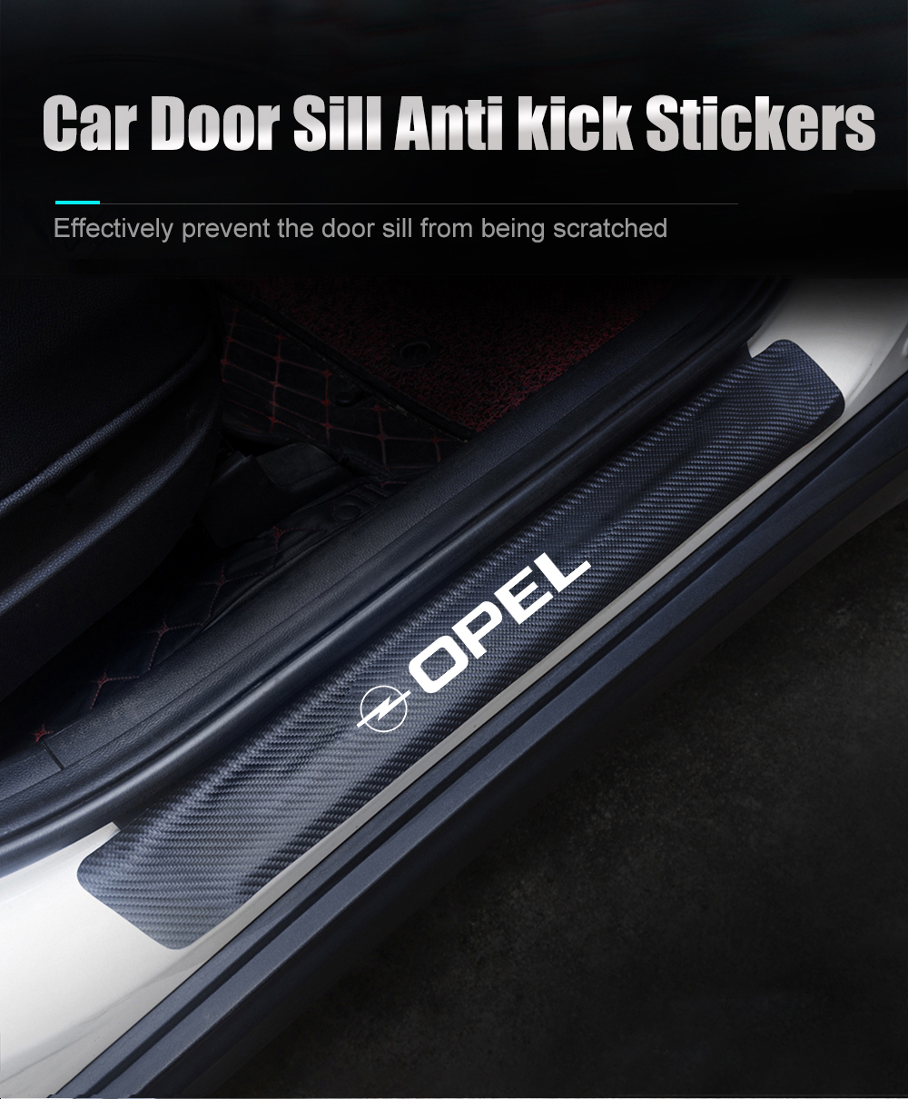 Auto Esterno Batticalcagno Adesivi Soglie Porte per Opel Meriva Protezione Car Styling Battitacco Inox Door Sill GLFDYC 4Pcs Fibra di Carbonio Soglia della Porta