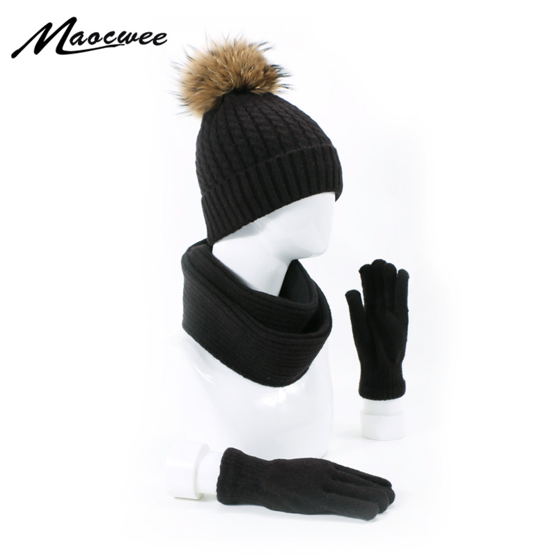 Winter New Solid Knitted Cotton Hats Scarf Hat Glove Sets For Women Real Raccoon Fur Pom-poms Warm And Ski Caps Skullies Beanies