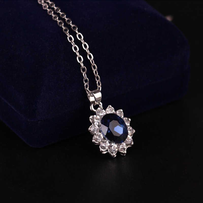 אפריקאי תכשיטי יום נישואים מתנה כחול קריסטל אבן חתונה תכשיטים עבור כלות כסף צבע שרשרת סט לנשים