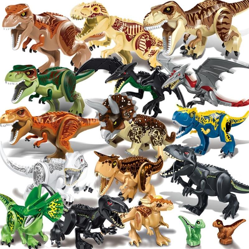 Jurassic Dinosaur Toy Figure IndoRaptor Pterosauria Triceratop Indomirus T-Rex World Building Block Compatible With Legoing