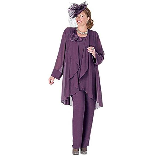 Zarif 3 Adet Anne Gelin Pantolon Takım Elbise Şifon Ceket Anne Gelin Elbiseler Artı Boyutu