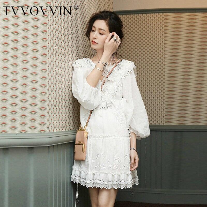 TVVOVVIN mode Europe robe femme automne et été nouveau 2019 femmes robe broderie col en v femmes vêtements C893