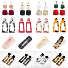 Fashion Big Resin Leopard Dangle Earrings For Women 2019 New Handmade Acetic Acid Large Korea Square Earrings Girls Jewelry