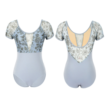 2020 New Short sleeve ballet Leotard for women Sexy cutout splice printed mesh gymnastics Practice Leotards adult CC2077D 2019 women new mesh see well o neck short sleeve splice fit