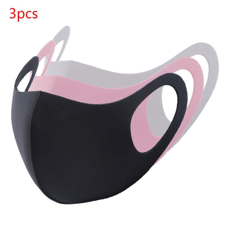 3Pcs Kids Adult Waterproof Sponge Mouth Mask 3D Reusable Anti Pollution Cover Elastic Earloop