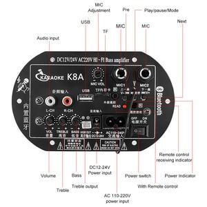 Image 3 - AOSHIKE amplificateur Bluetooth à double Microphone, panneau damplificateur 12V 24V 220V pour caisson de basses de 5 10 pouces, haut parleur bricolage