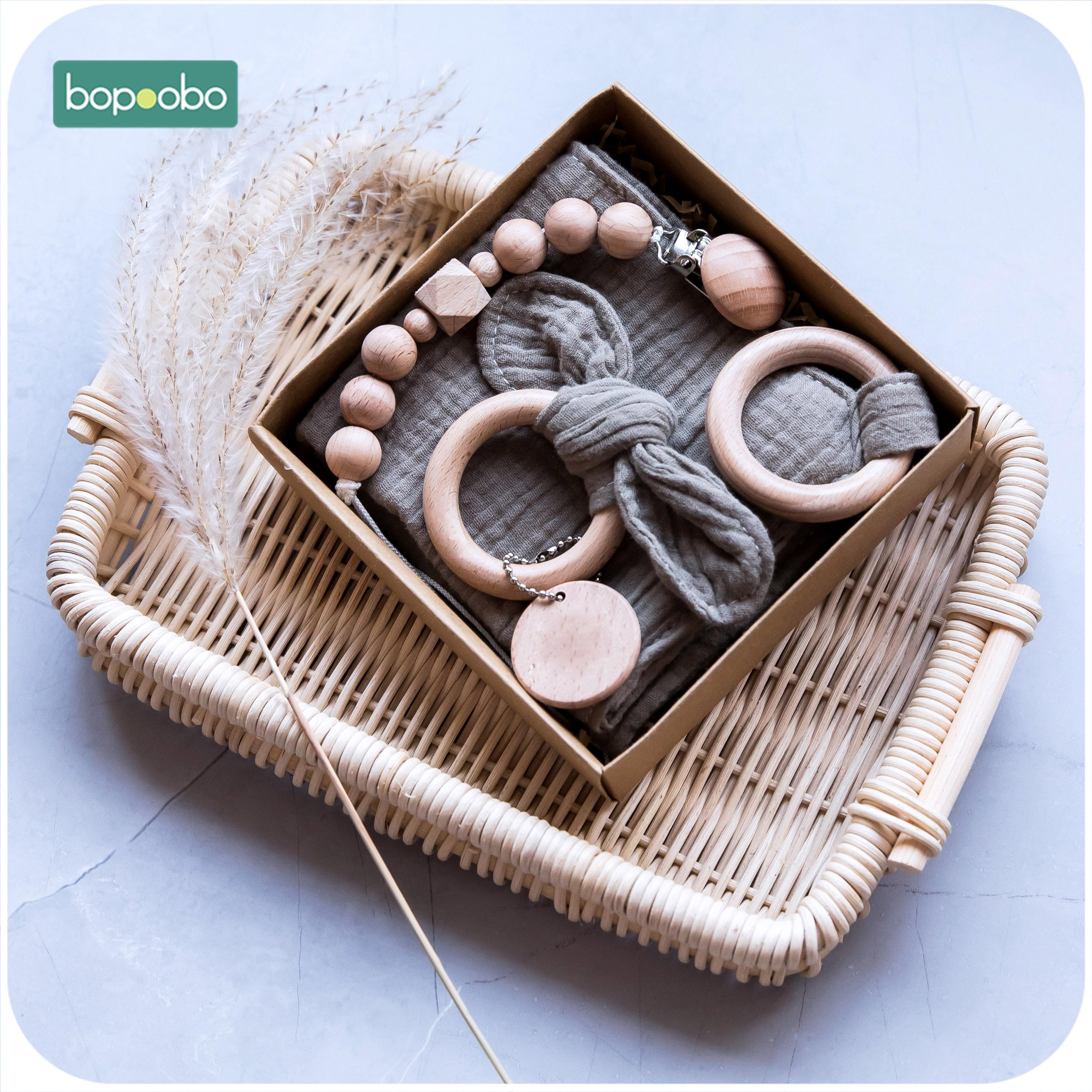 Bopoobo 3pcs/Set Wooden Teether Bunny Ear Wooden Rings Baby Bib Cotton Towel DIY Wood Pacifier Chain  For Nursing Baby Products