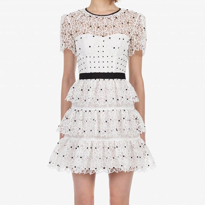 HIGH QUALITY Newest 2020 Designer Runway Dress Women's Short Sleeve Lace Mini Dress