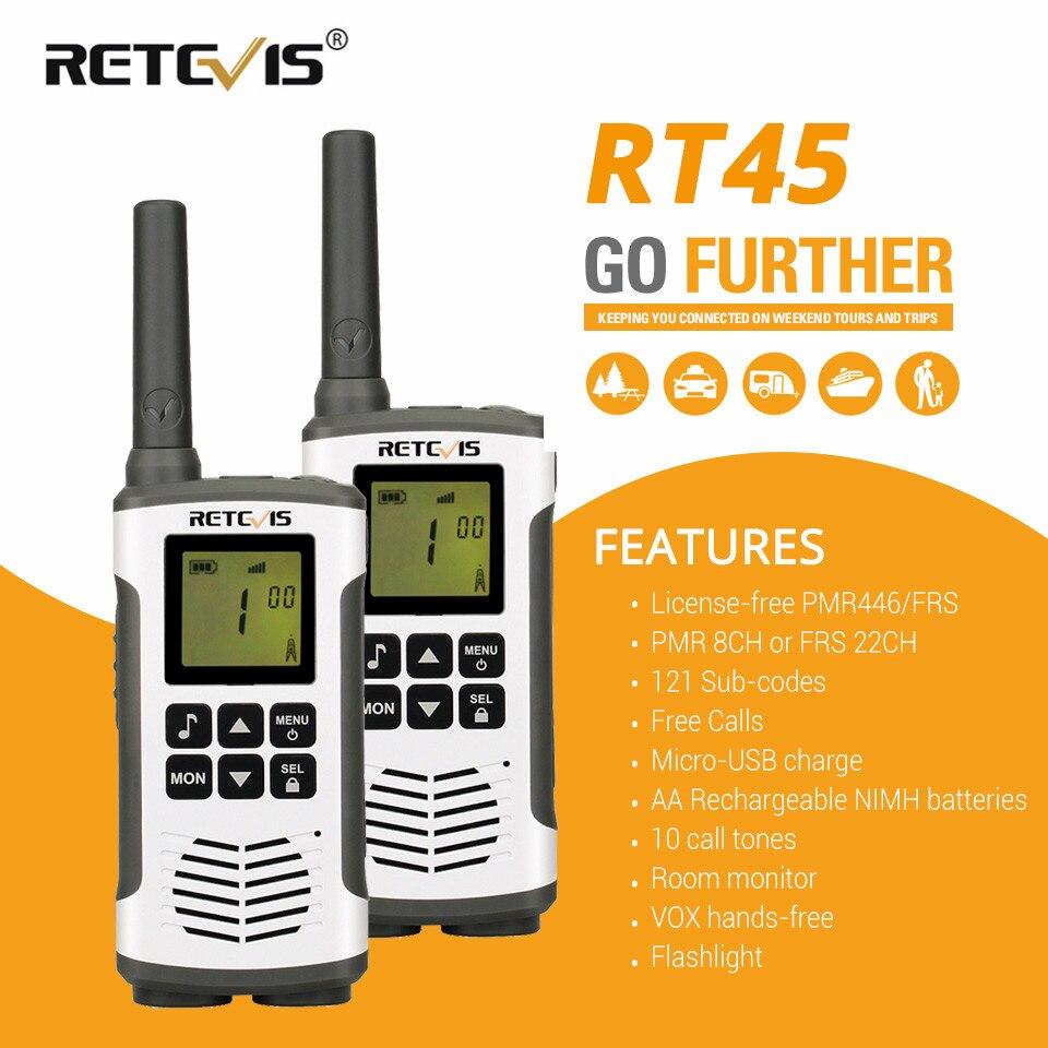 2 Pcs Retevis RT45 PMR Radio Mini Walkie Talkie Radio PMR446 PMR 446 Two Way Radio Communicator Walkie-Talkie For Motorola TLKR