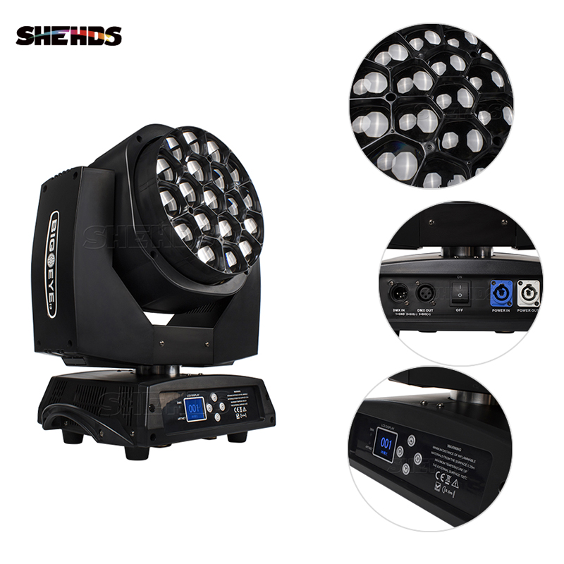 19x15W Wash Big Bees Eyes RGBW Zoom 285W DMX Moving Head LED Beam Suitable For Concert Dance Hall Club Bar Stage Effect Light
