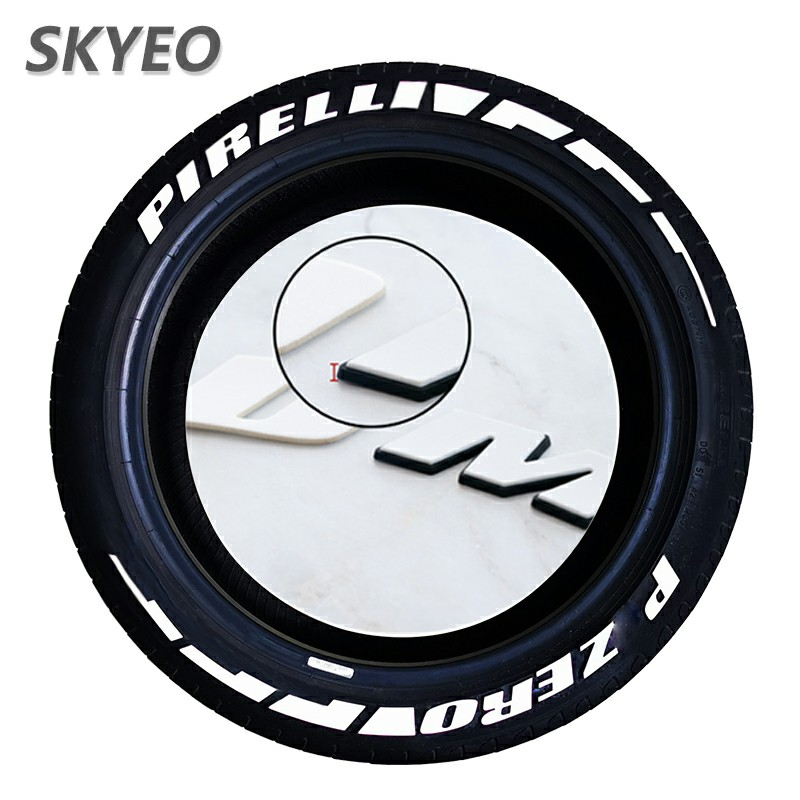 SKYEO Car Tire Stickers 3D Rubber Tire Lettering Tuning Car Universal  White Tire Sticker Letters Decals Wheels Autos Logo