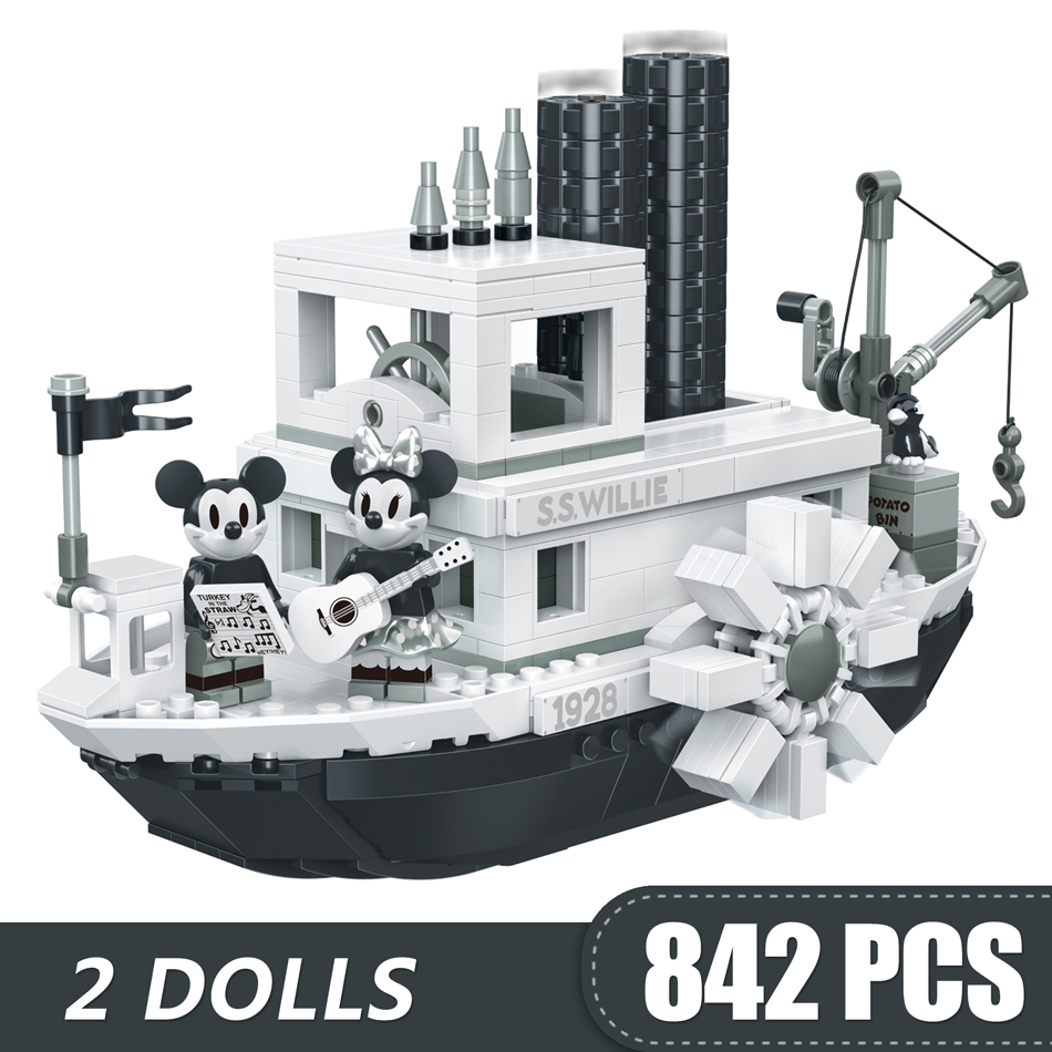 842PCS Small Building Blocks Toys Compatible With Lepining Mickey Minnie Steamboat Willie Gift For Girls Boys Children DIY