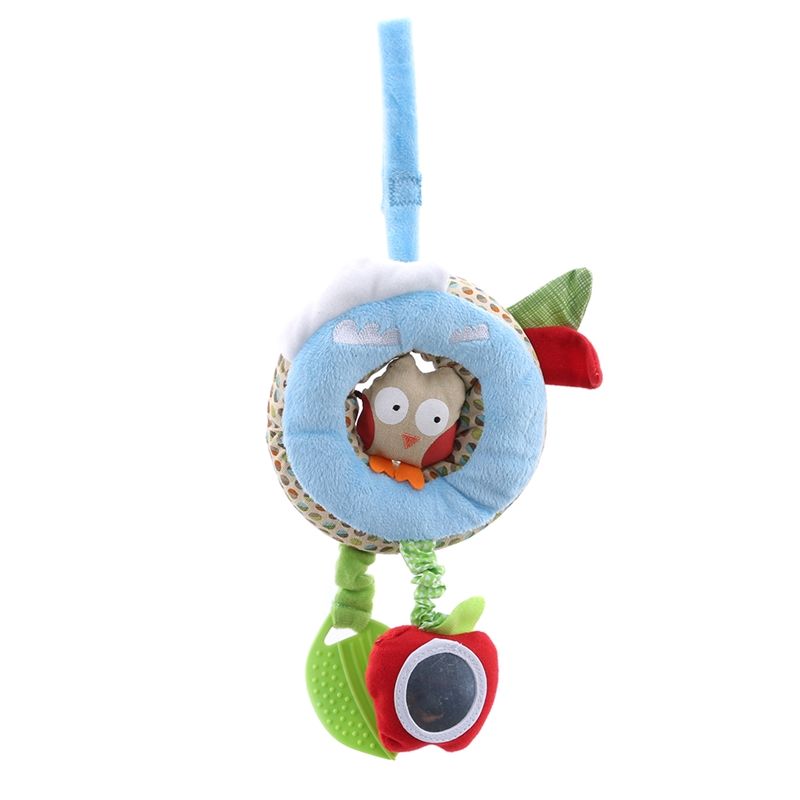 Cute Baby Rattles Hanging Bed Stroller Crib Rattles Toys Cartoon Soft Plush Animal Doll Bed Educational Toys