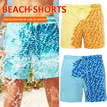 Pantalones cortos de playa con cambio de Color para hombre, pantalones de playa de secado rápido, pantalones cortos de decoloración de Color, pantalones cortos de surf para niños y adultos