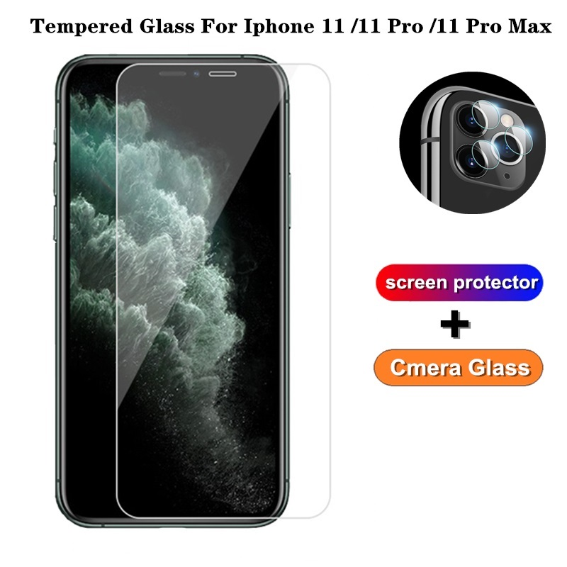 Camera Glass + Screen Protector For Iphone 11 Back Cover Glass For Iphone 11 Pro Max Toughened Protective Cmera Lens Film