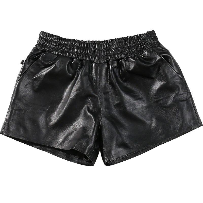 Women Genuine Leather Black Elastic Waist Korean Style Female Classic Short Pants Real Sheepskin Ladies Mini Sexy Shorts