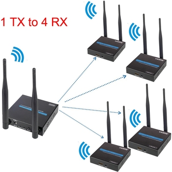 100M Wireless WiFi HDMI Extender 1 Transmitter TO 4 Receiver One to Many 1TX to 4RX Local Loop-out HDMI Extension DVD PC To TV