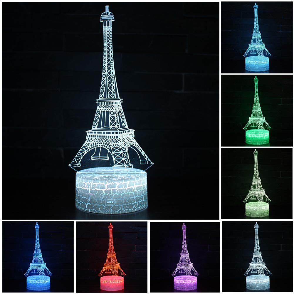 3D Eiffel Tower Shape LED Night Light 7 Colors LED Night Lights For Kids Room Touch Remote Control Bedside Lamp Indoor Lighting
