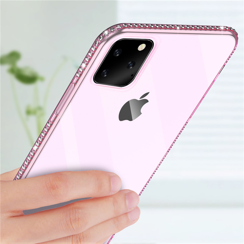 Moskado Bling Diamond Phone <font><b>Case</b></font> For <font><b>iPhone</b></font> 11 6 6S 7 8 Plus <font><b>X</b></font> Transparent Shining Soft TPU For <font><b>iPhone</b></font> 11 Pro XR <font><b>XS</b></font> Max <font><b>Case</b></font> image