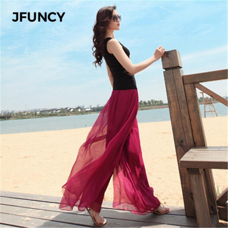 JFUNCY New Women Wide Leg Beach Pants Summer Loose Large Size Pants Elastic Waist Skirt Pants Female Chiffon Pants Bell Bottom