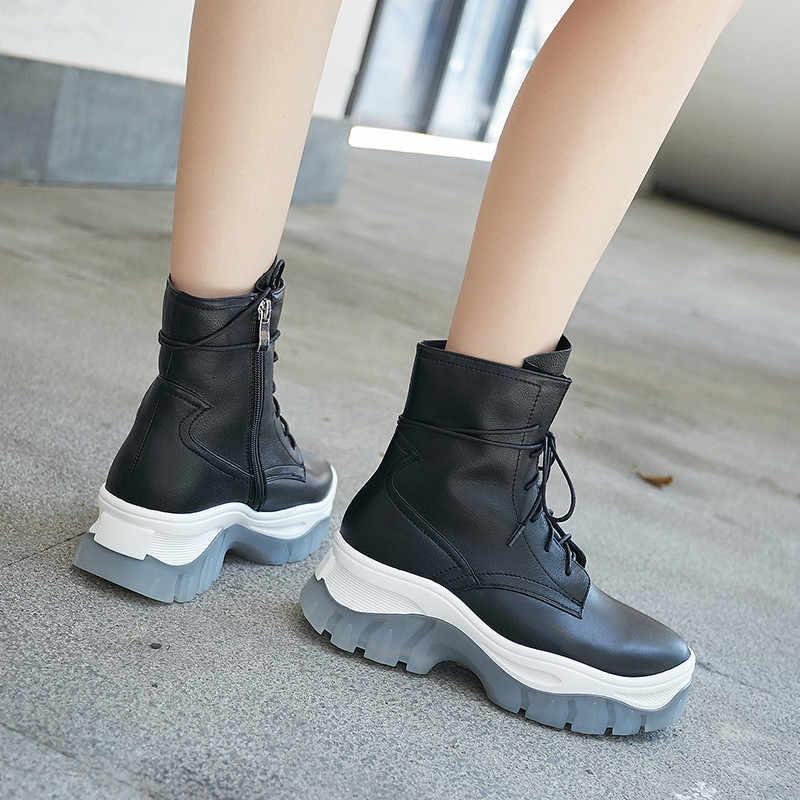 FEDONAS נוח דירות פלטפורמת נשים חם קרסול מגפיים שחור אמיתי עור אופנוע קצר מגפי מפלגה מקרית נעלי אישה