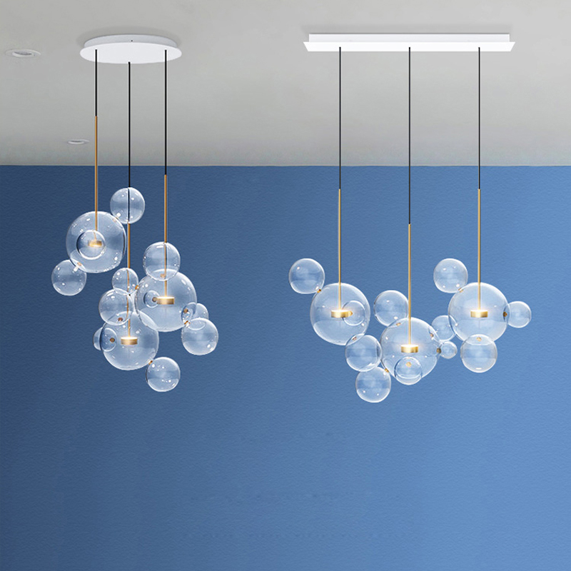 LED Nordic Iron Glass White Clear Blue Designer LED Lamp LED Light Pendant Lights Pendant Lamp Pendant light For Dinning Room