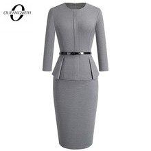 Женское классическое Деловое платье с поясом, однотонное облегающее офисное платье для осени и зимы, EB473
