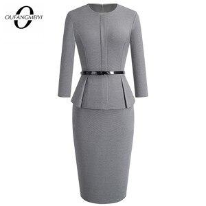 Image 1 - Automne hiver classique femmes robe daffaires élégant ceintures couleur unie moulante travail carrière robe de bureau EB473