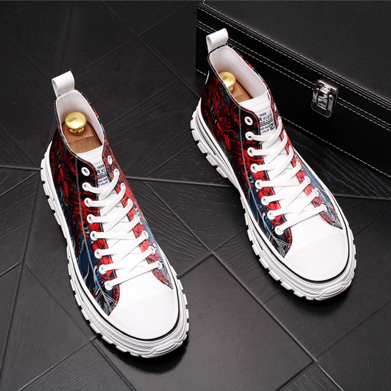 Stephoes Men Fashion Casual Ankle Boots Spring Autumn Canvas Thick Bottom Leisure High Top Sneakers Male Graffiti Trending Shoes