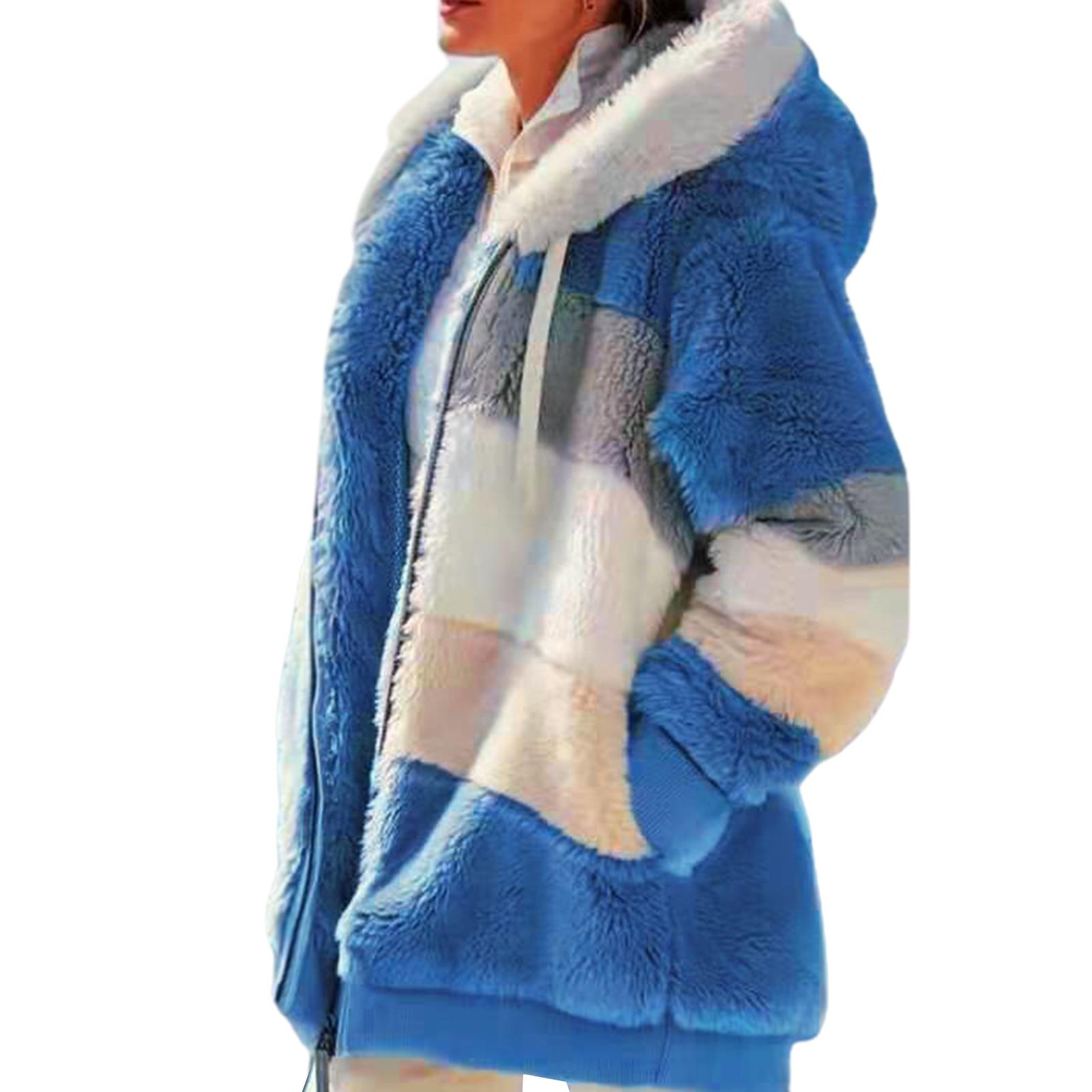 Veste peluche capuche chaude à manches longues