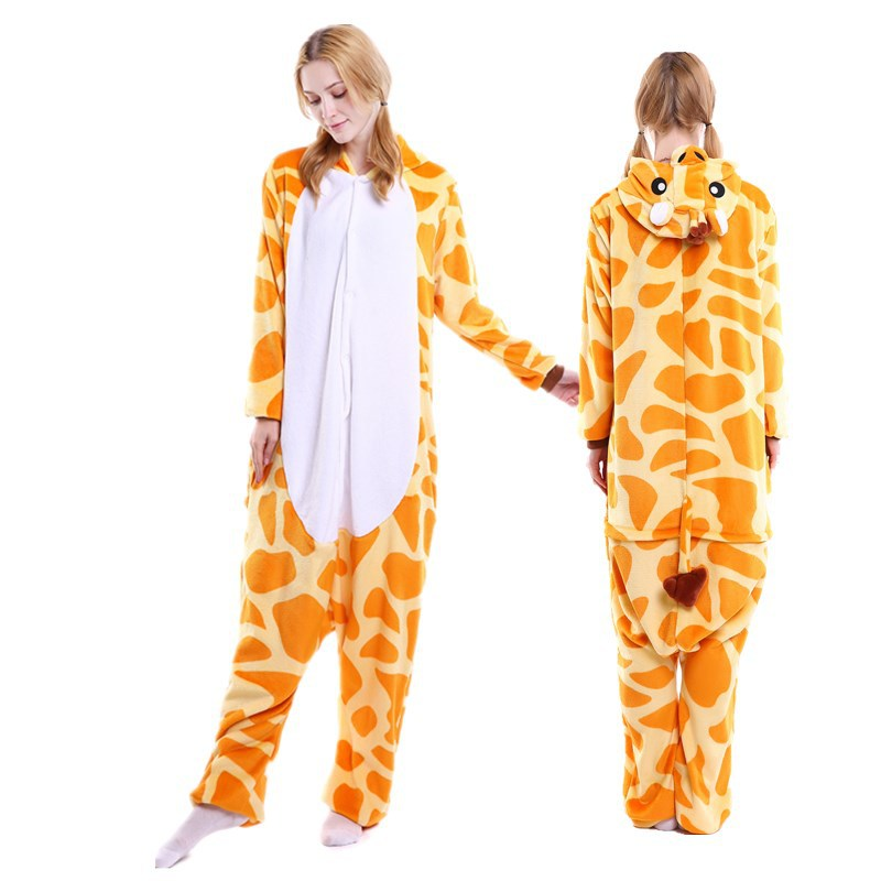 Cartoon Animal One-piece Pajama Women's Winter Thick Coral Flannel Giraffe Pajamas Manufacturers Wholesale