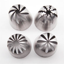 4Pcs Big Size Rose Nozzles Icing Piping Stainless Steel Cream Cake Russian Partry Tips Cupcake Decorating Baking Tool(China)