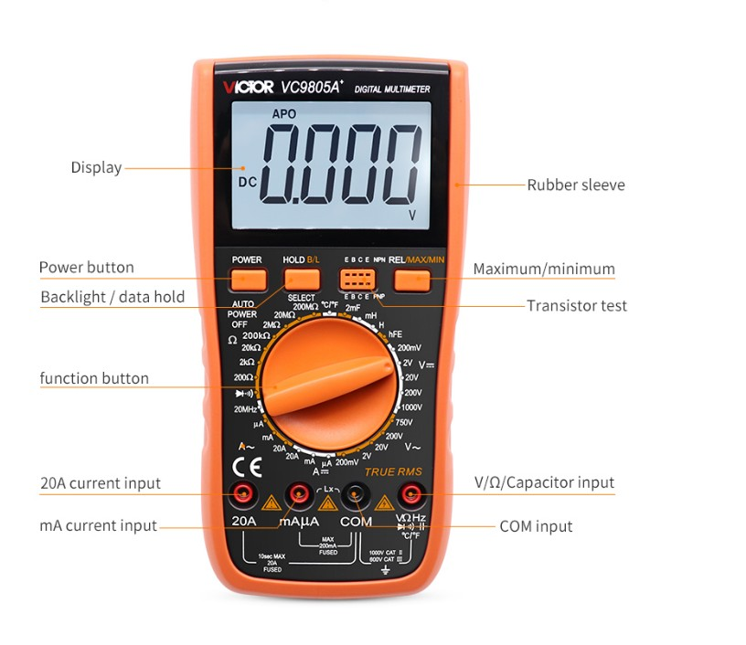 Digital Multimeter VICTOR VC9805A+ True RMS DMM AC/DC Ammerter Resistance Capacitance Inductance Frequency Temperature Tester