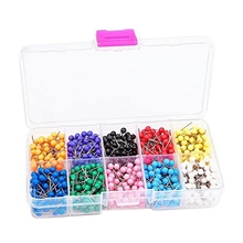 1000 Pcs Map Tacks Push Pins Plastic Head with Steel Point Cork,Board Safety Colored Thumbtack Office School Supply
