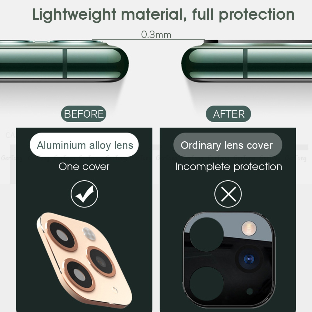 H778dc6a7a91946a4a81b317e9f30eabfE - 3D Alumium Camera Lens Seconds Change for iPhone 11 Pro Max Lens Ring Cover Sticker For iPhone X R XS MAX Rear Protective Cover