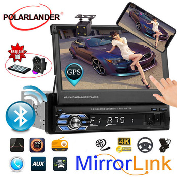 7 1DIN Mirror Link Bluetooth Car Radio GPS Stereo Touch Screen Head Unit USB/AUX/SD radio cassette player Autoradio auto tapes image