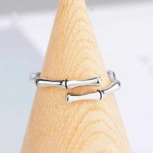 ANENJERY de moda de Plata de Ley 925 de bambú Simple conjunto de anillo de plata tailandés huesos anillos de apertura para las mujeres venta al por mayor de joyería S-R569