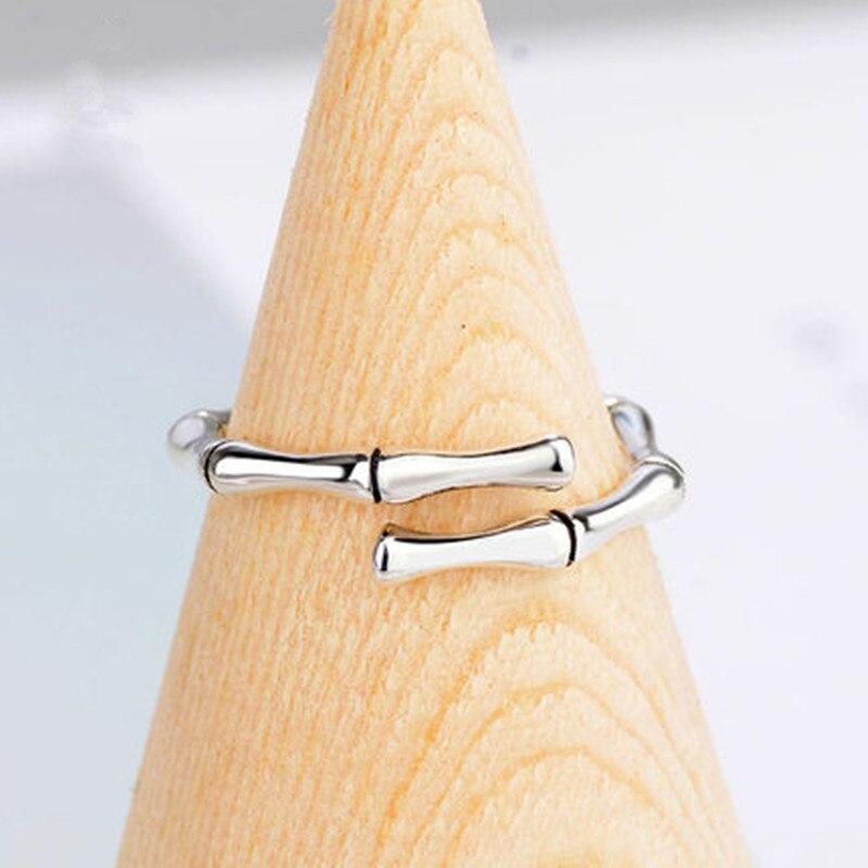 Anenjary, Junta Simple de bambú de moda, anillo de plata esterlina 925, anillos de apertura de huesos para mujeres, joyería al por mayor, S-R569