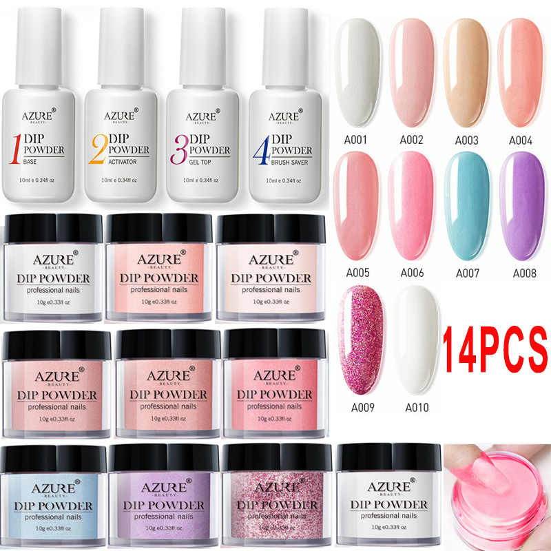 Azure Kecantikan 14 Pcs/lot Full Set Mencelupkan Bubuk Base Top Coat Kit DIY DIP Kuku Bubuk Manikur Set Sikat Saver bubuk