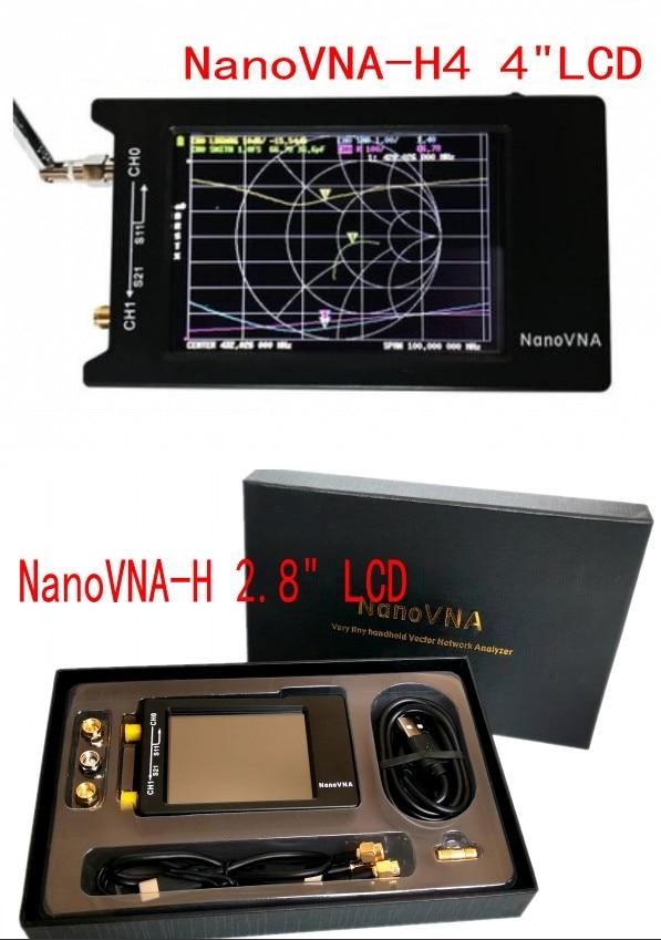 Original Hugen NanoVNA-H4 H 4inch/2.8inch LCD/VNA Vector Network Analyzer  HF VHF UHF Antenna Analyzer + Case+ Box + Battery