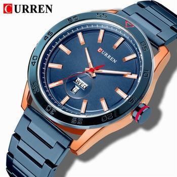 Curren 8321 Mens Watches Top Luxury Analog Watch Men Stainless Steel Waterproof Quartz Wristwatch With Box