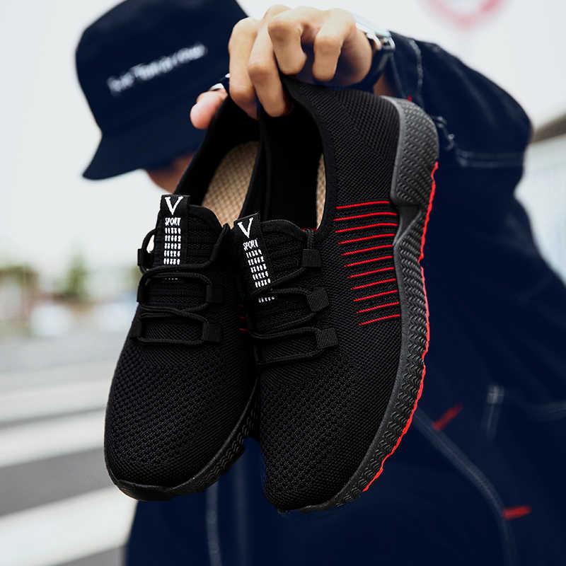 Laamei/2019 г.; Мужская Уличная обувь из сетчатого материала; Повседневная Удобная Обувь На Шнуровке; спортивная обувь для бега; tenis masculino adulto